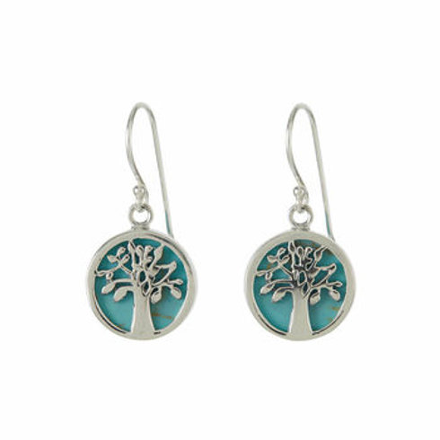 Charlotte's Web Tree Of Life Turquoise Earrings