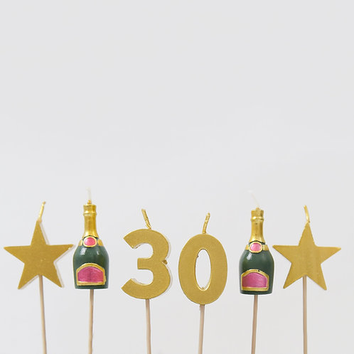 30 Stars And Bottles Candles
