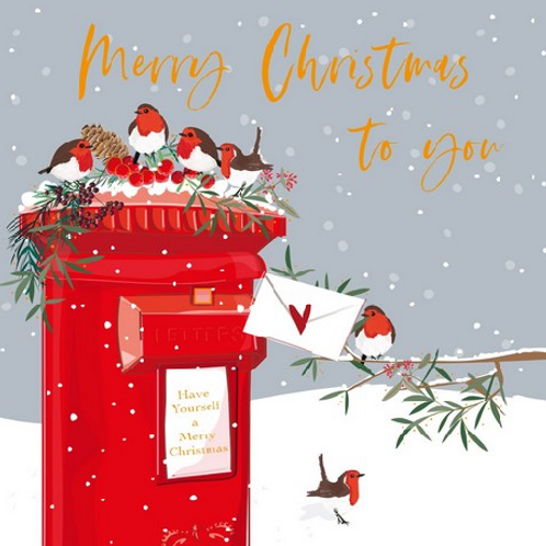 Robins on a Postbox Christmas Cards Box of 8