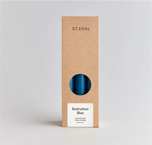 St Eval Bedruthan Blue Dinner Candles Pack of 6