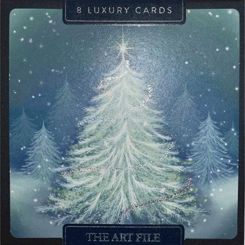 Blue Christmas Tree Christmas Cards Box of 8