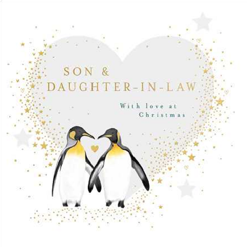 Penguin Couple Son and Daughter-in-Law Christmas Card