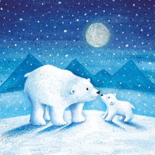 Polar Bears in the Moonlight Christmas Cards Pack of 8