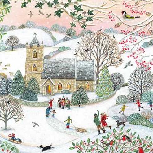 Snowy Church Christmas Card Pack of 5