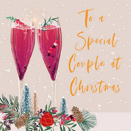 Cocktail Flutes Special Couple Christmas Card