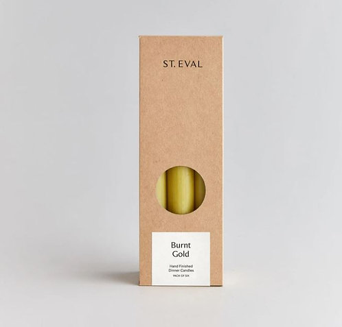 St Eval Gold Dinner Candles Pack of 6
