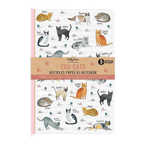 Milly Green Curious Cat Eco A5 Notebook
