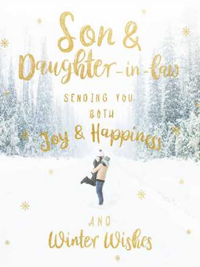 Son and Daughter-in-Law Sending You Both Joy and Happiness Christmas Card