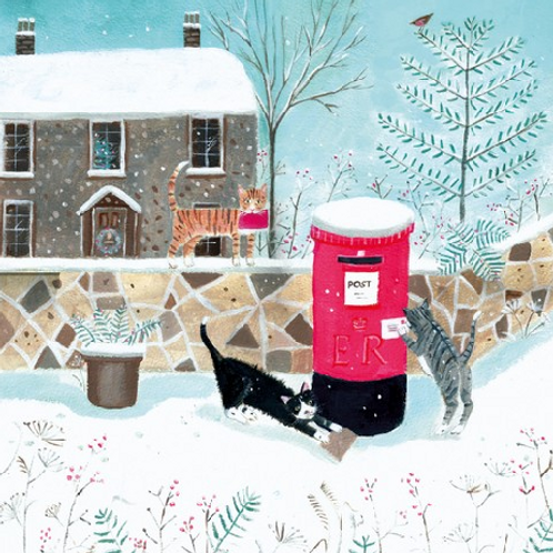 Cats Playing in the Snow Christmas Cards Pack of  5