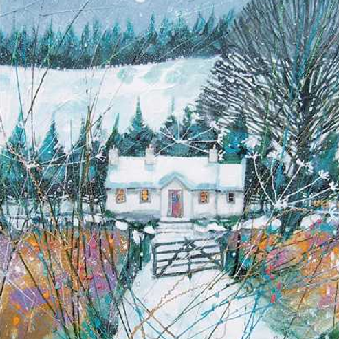 Snowy Cottage Christmas Cards Pack of 8