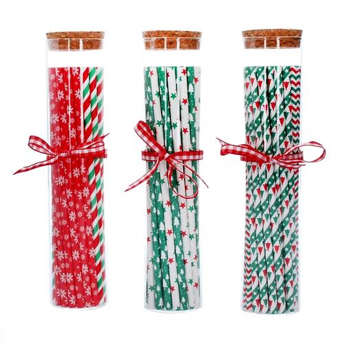 Festive Paper Straws in Glass Jar