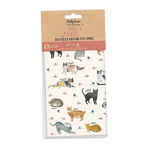 Milly Green Curious Cat Eco Tea Towels Set Of 2