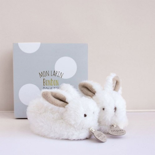 DouDou Taupe Bunny Rattle Booties