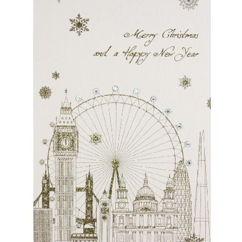 Merry Christmas and a Happy New Year London Skyline Christmas Card