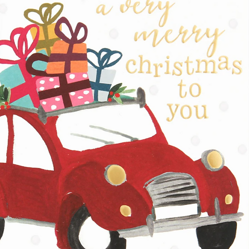 Painted Car with Presents Christmas Card Pack of 8