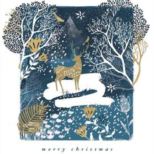 Deer in Winter Wonderland Christmas Cards Pack of 5