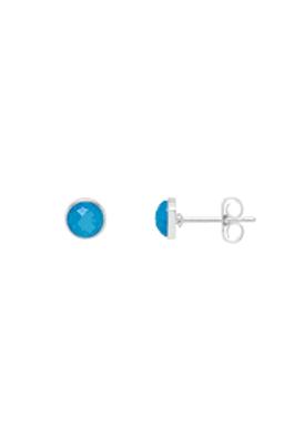 Estella Bartlett Blue Chalcedony Silver Plated Plated Stud Earrings