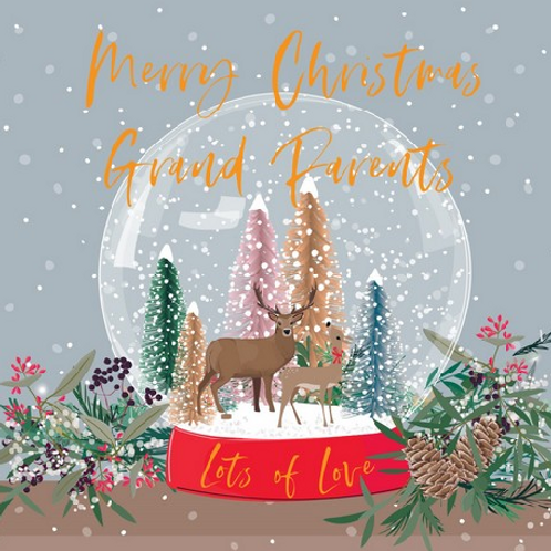 Deer in a Snow Globe Grandparents Christmas Card
