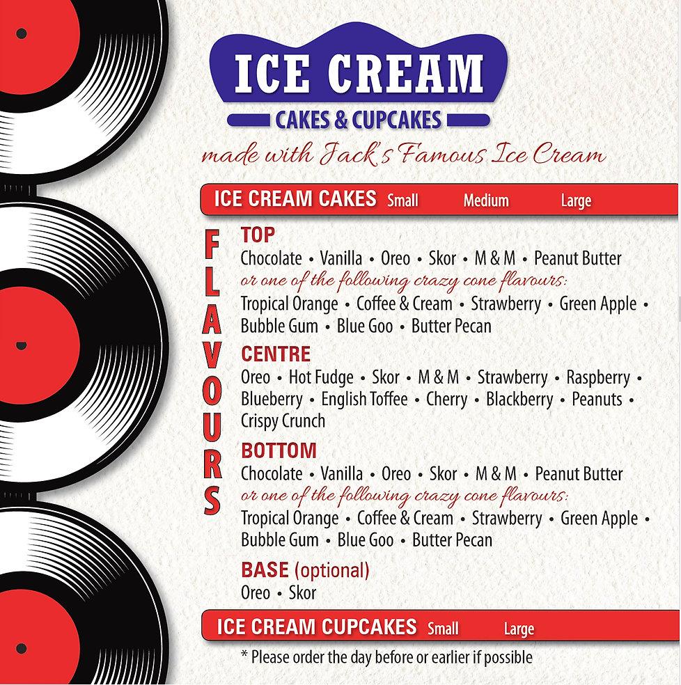 Jack's Drive-In Ice Cream Menu
