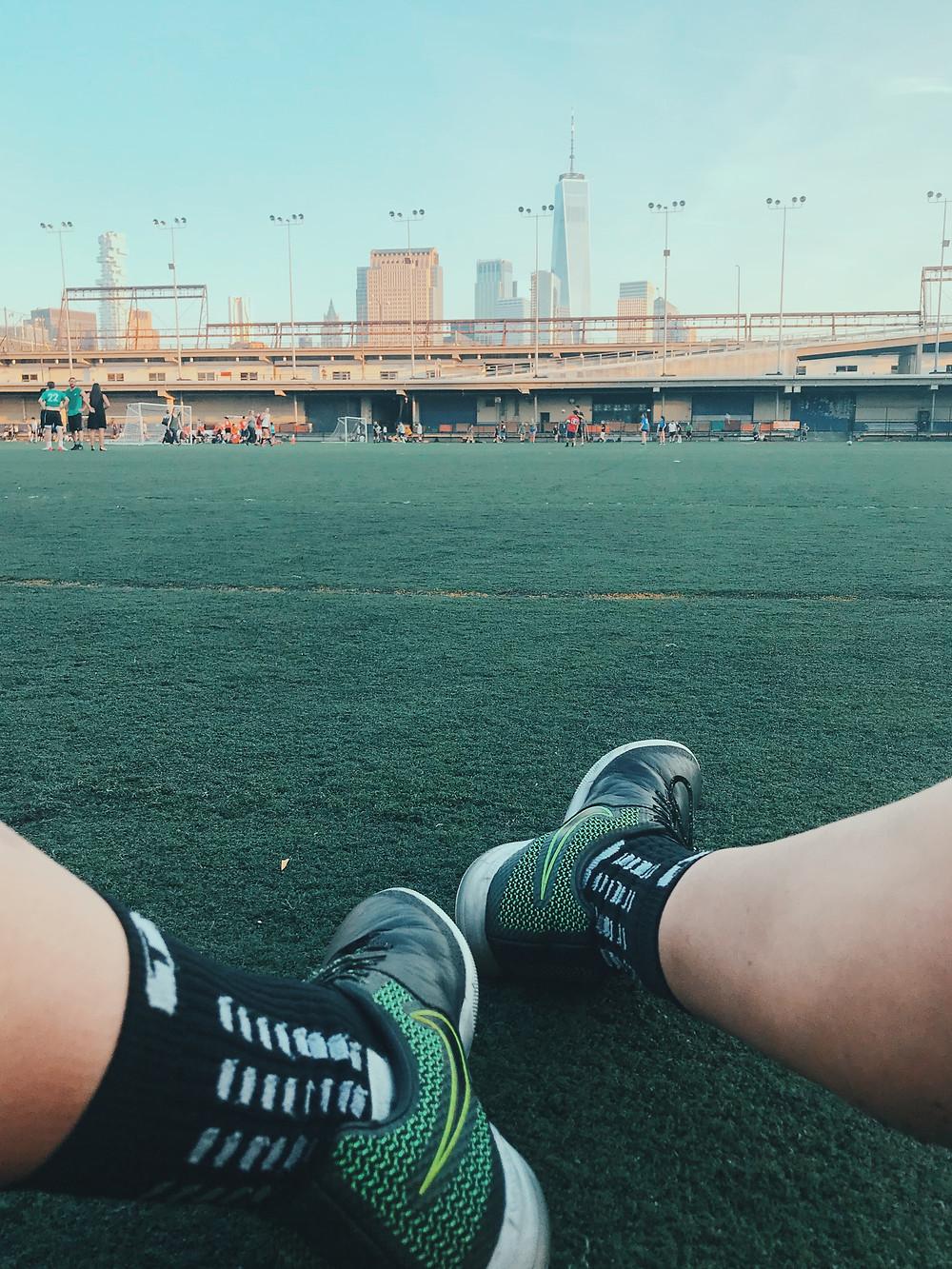 turf Soccer field in New York City Pier 40