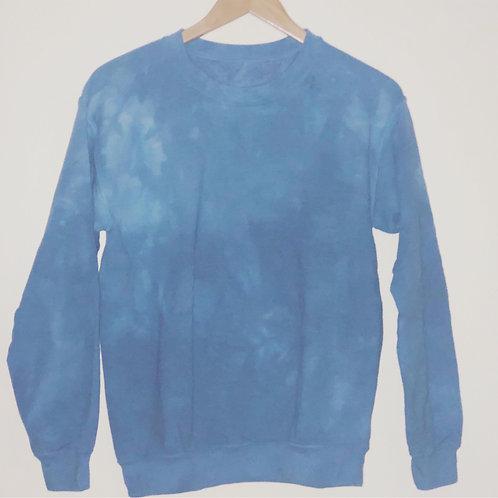 SAPPHIRE BLUE DIP DYE CREW SWEATSHIRT