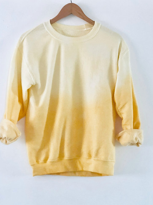 YELLOW DIP DYE CREW SWEATSHIRT