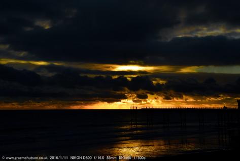 January pier sunset