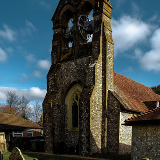 St James' belfry & west window, Clan