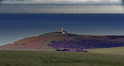 Belle Tout Lighthouse and windfarm