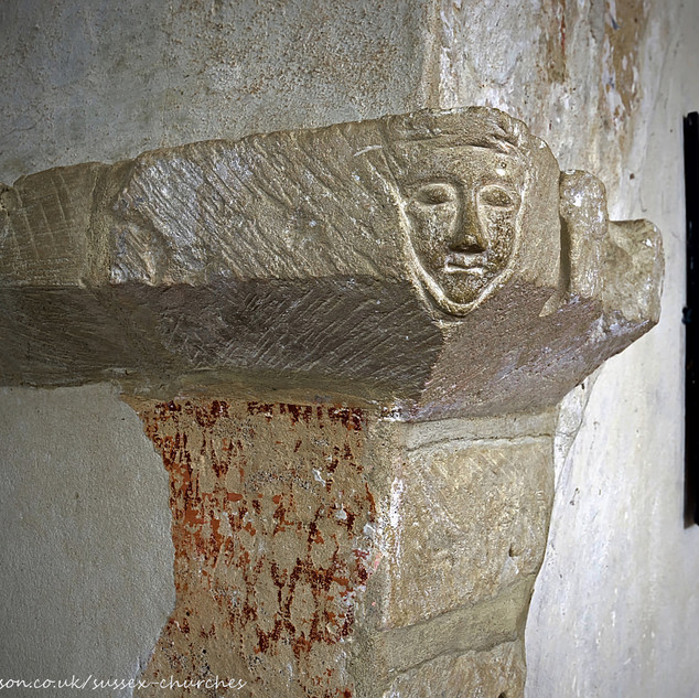 Carved mask, Coombes Church