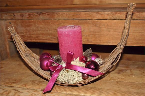 Centrotavola con candela rosa
