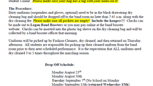 2021 Dry Cleaning Schedule