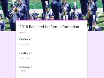 Student Uniform Information Needed
