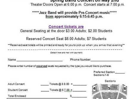 Reserved Seats Available For The Spring Band Concert