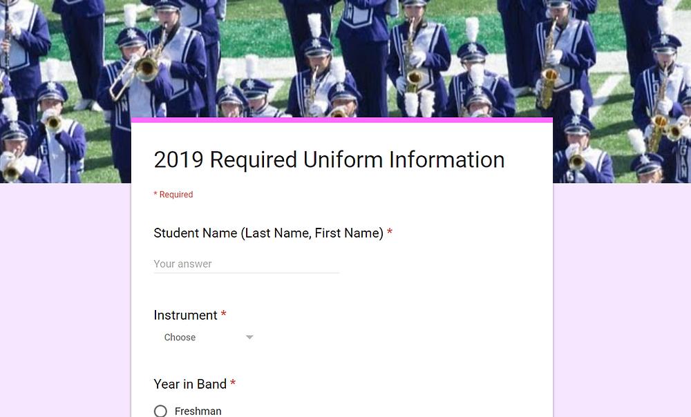 2019 Required Uniform Information Form