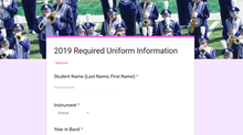 2021 Student Uniform Information Needed