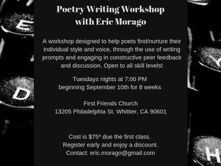 Poetry Workshops with Eric Morago this Fall! Generative and Manuscript Workshops Being Offered!