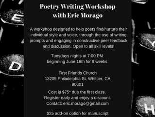 Eric Morago Teaches New Poetry Writing Workshop Series Starting Tuesday June 19th. Come Get Your Poe