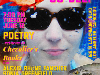 Alexis Rhone Fancher, Sonia Greenfield, & Eric Morago at Chevalier's Books Tuesday, June 12t