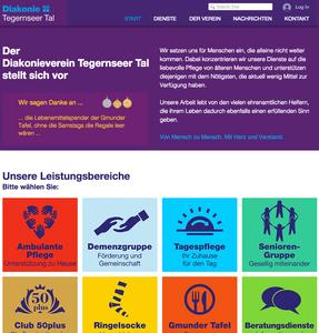 Startseite der neuen Internetpräsenz des Diakonievereins Tegernseer Tal