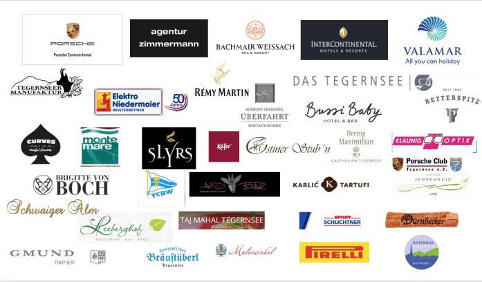 Logos der Spender für die Tombola des Porsche Club Tegernsee