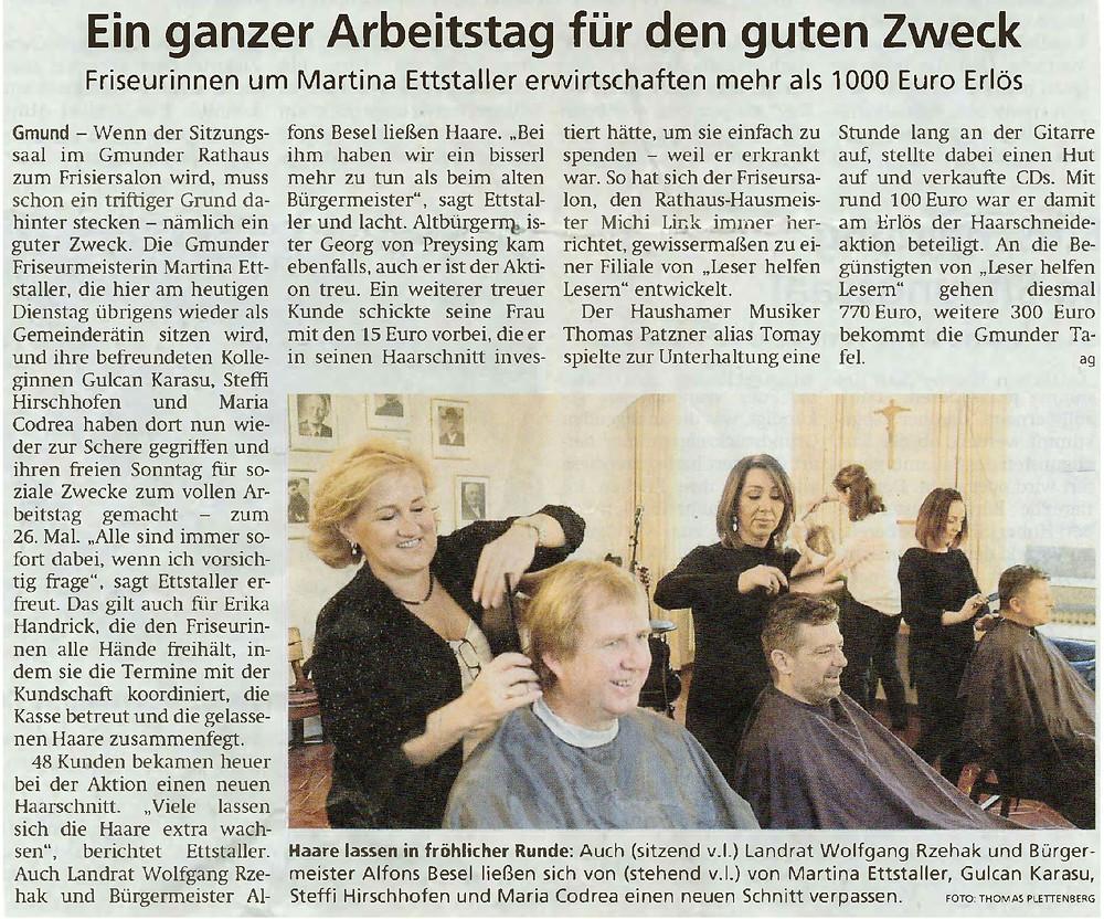 Zeitungsausschnitt Tegernseer Zeitung, Martina Ettstaller schneidet Haare für einen guten Zweck.