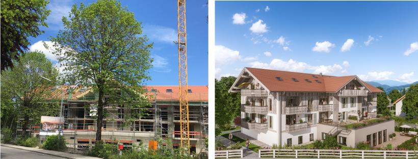 Foto von der Baustelle und der 3D-Visualisierung der Tagespflege Bad Wiessee der Diakonie Tegernseer Tal