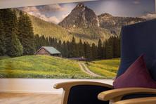In unserem Ruheraum können Sie Ihren Blick schweifen lassen, über einheimische Wiesen, Wälder und Gipfel ...