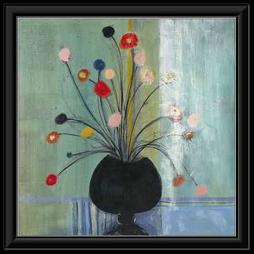 Flowers on Green Framed Canvas.jpg
