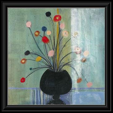 Flowers on Green Framed Canvas.jpg