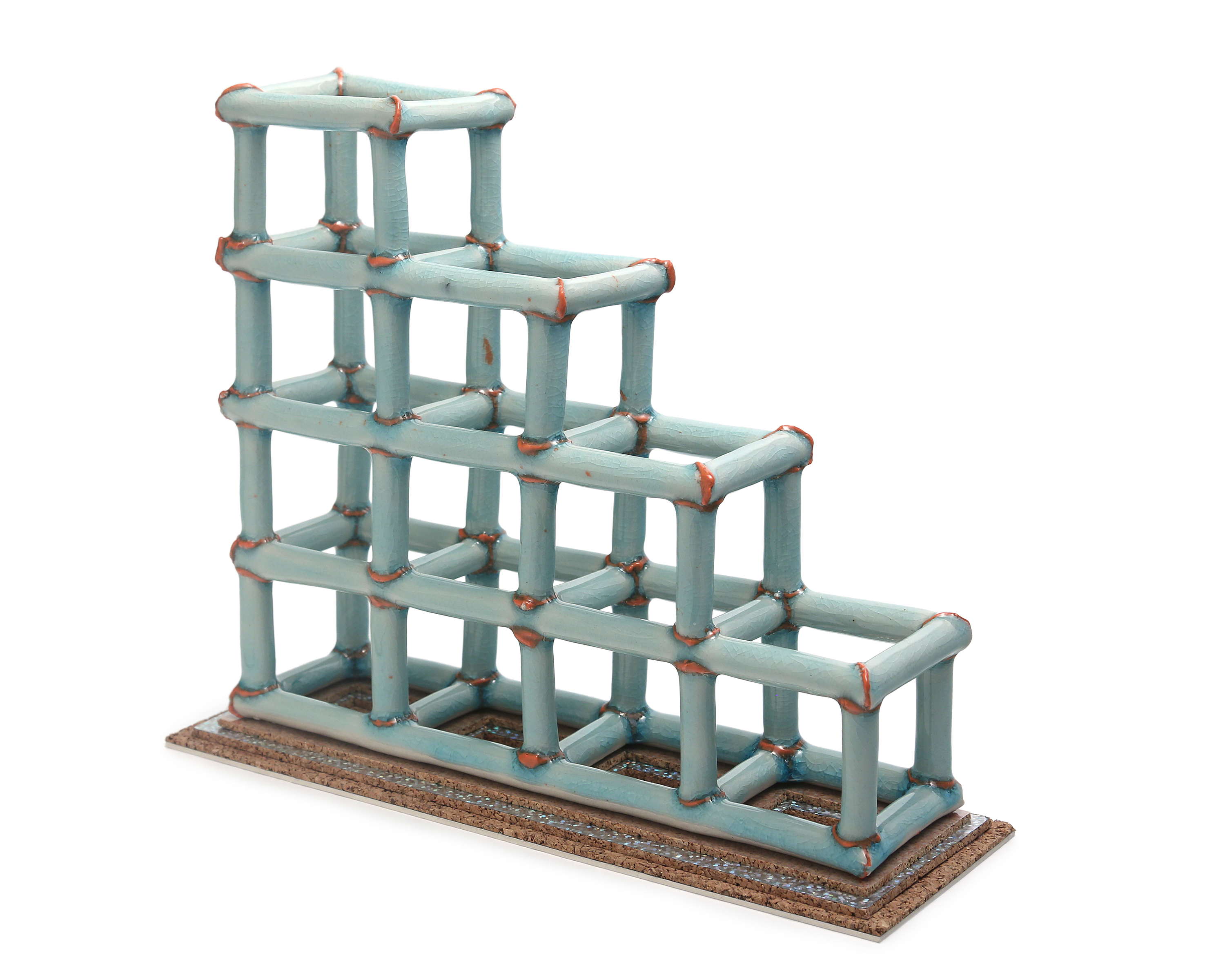 watery blue structure, elevated