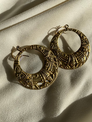 Vintage Gold Etched Hoops