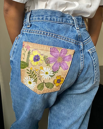Pressed Flowers on Denim