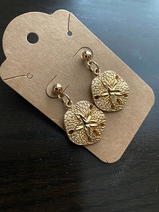 Vintage Gold Sand Dollar Earrings